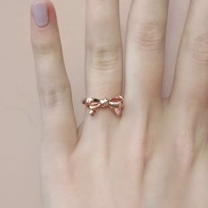 925 Sterling Silver Rose Gold Plated Bow Ring